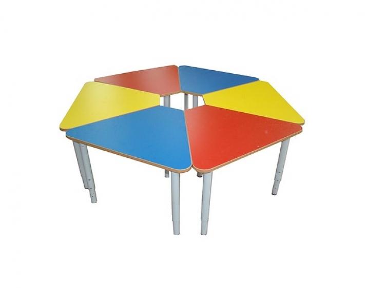 Стол 6-ти секционный «Ромашка», металлические ноги, столешница ЛДСП, 1300*1300*400/580 мм