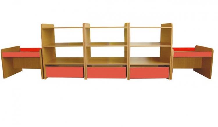 Стеллаж двусторонний для игрушек (5 разборных секций): ЛДСП, 2650*900*450 мм