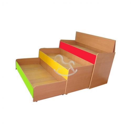 Кровать трехъярусная выкатная со складной крышкой, ЛДСП, 1459*660*810 мм_0
