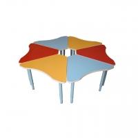Стол 6-ти секционный «Ромашка фигурная», металлические ноги, столешница ЛДСП, 1300*1300*400/580 мм