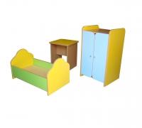 Набор кукольной мебели, 3 предмета (стол, кровать, шкаф), ЛДСП