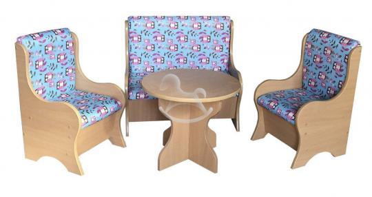 """Уголок отдыха """"Ягодка"""" (2 кресла, диван, стол), ЛДСП, поролон, ткань."""