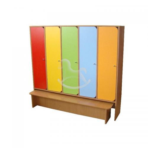 Шкаф 5-ти секционный с скамейкой, ЛДСП, 1420*280*1300 мм