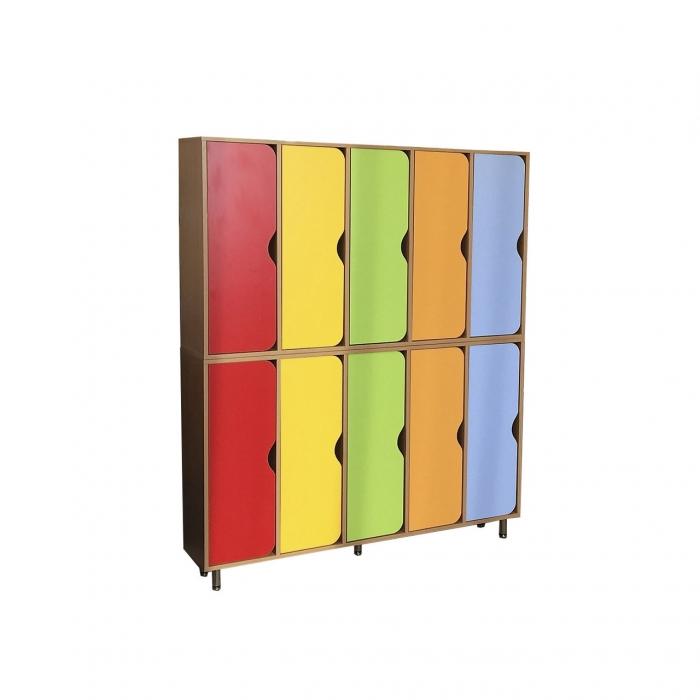 Шкаф двухъярусный 10-ти секционный, ЛДСП, 1416*280*1700 мм