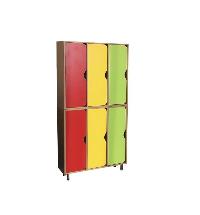 Шкаф двухъярусный 6-ти секционный, ЛДСП, 856*280*1700 мм