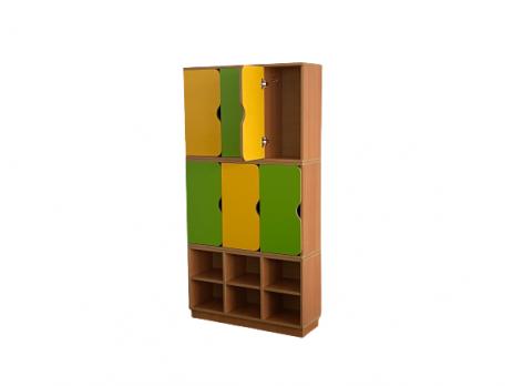 Шкаф 2-хярусный 6-ти секционный с обувницей 856*280*1700 мм