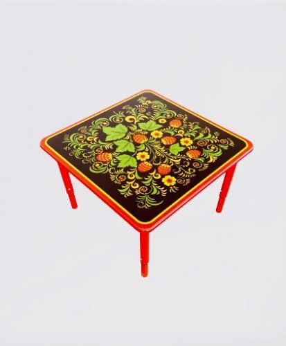 Стол квадратный регулируемый на металлическом каркасе 700*700*400-580 мм Хохлома, Гжель, Осень_1